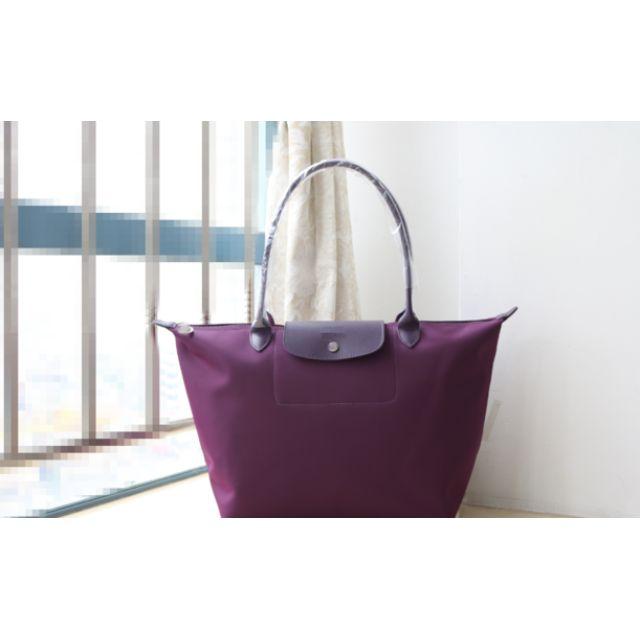 "Longchamp ""Planetes"" Large Long Handle Tote Bag Bilberry"
