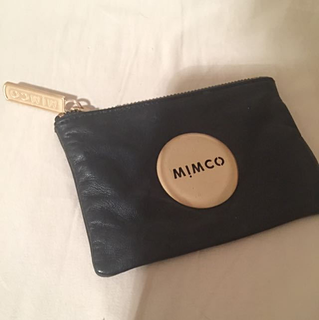 Mimco Black Leather And Gold Pouch Small