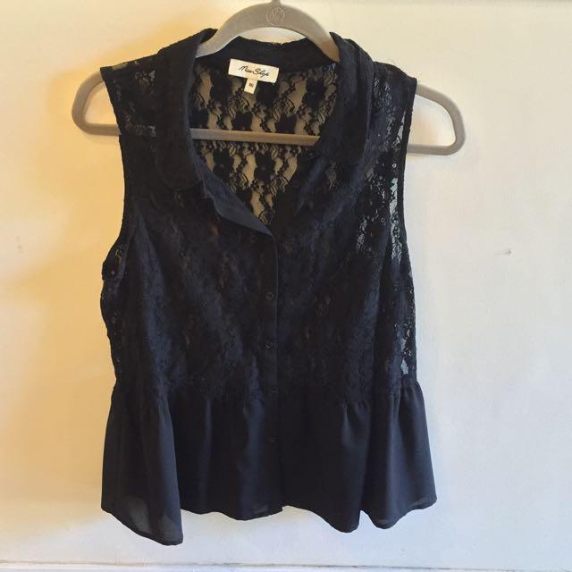 Miss Shop Black Lace Blouse Size 16