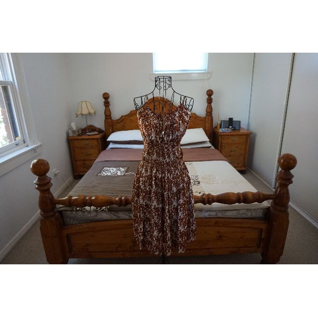 Natasha Cream and Brown Print 3-Way Dress Size XS RRP $280.00
