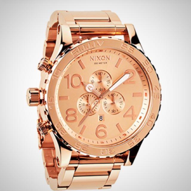 (代購)Nixon 玫瑰金51-30 CHRONO潛水錶