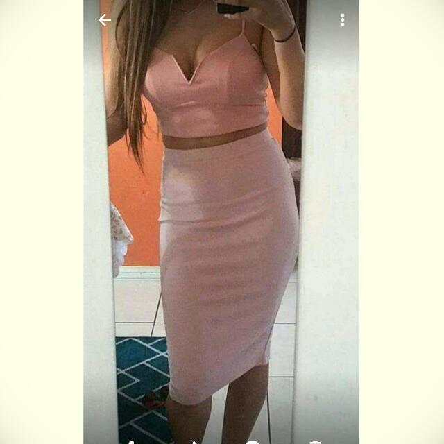 Pink Crop And Midi Skirt Set