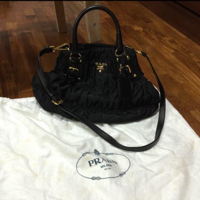 c7e67e51176c74 Prada Signature Ruched Nylon Bag, Luxury, Bags & Wallets on Carousell