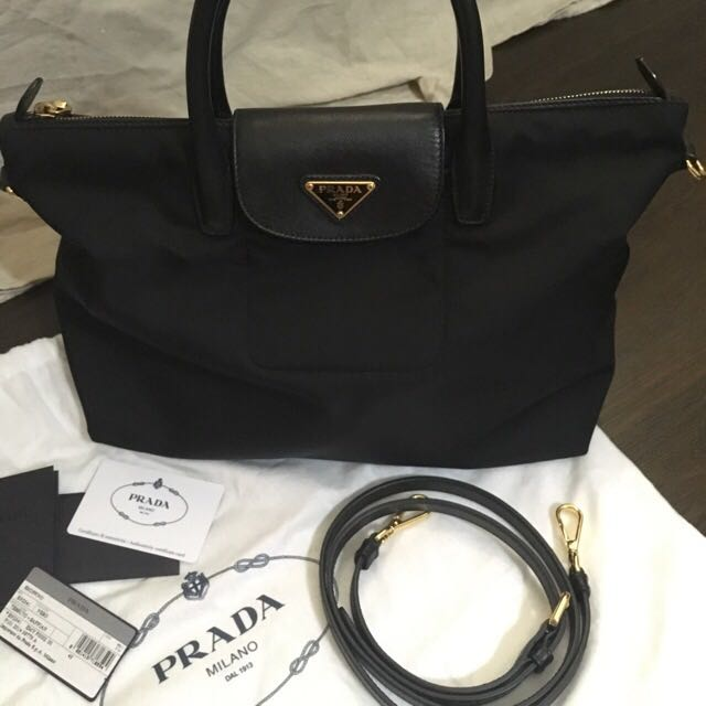 ... coupon code for prada tessuto saffiano leather and nylon shopping tote  bag authentic luxury bags wallets 79c7789d6add3