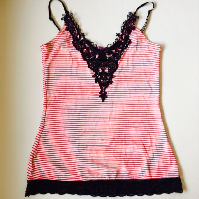 Red And Black Lace Sleeveless Too