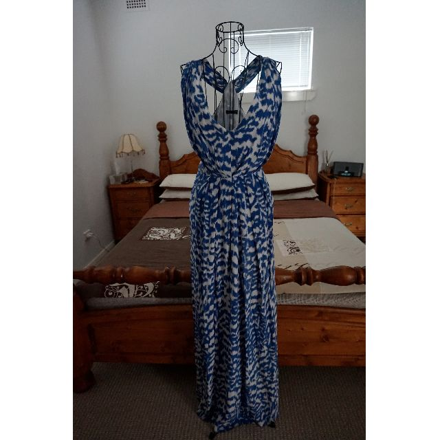 SABA Blue and White 100% Silk Maxi Dress Size 8 RRP $499.00
