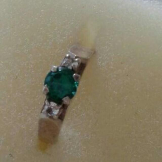 Stirling Silver Ring And Necklace With Emerald And Diamonds. $50 For Both