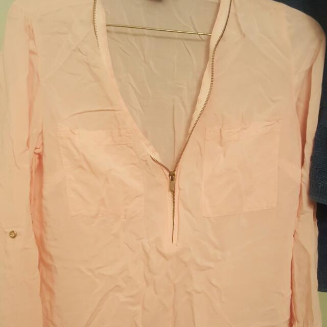 Suzy Sheer Light Pink Zip Up Long Sleeve Size Xs