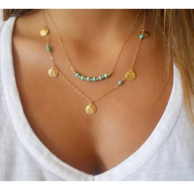 Two Layers Golden Tone Beads Fine Chain Necklace