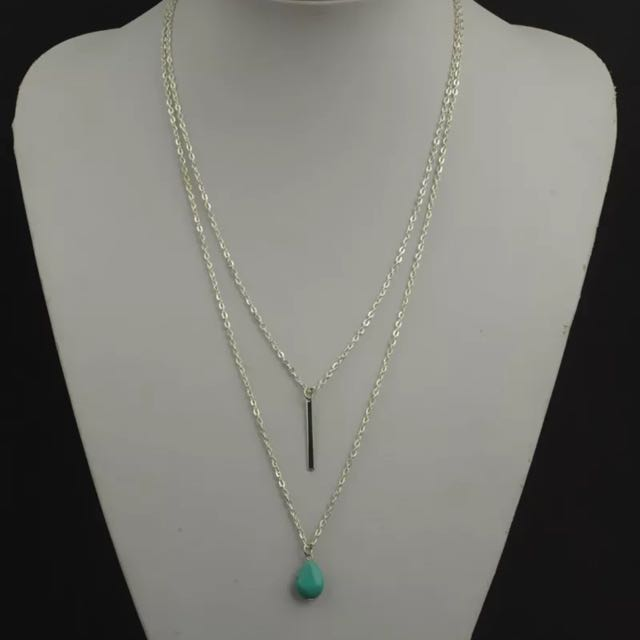 Two Layers Silver Tone Fine Chain Turquoise Bead Necklace