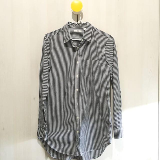 UNIQLO 黑白條紋長袖襯衫