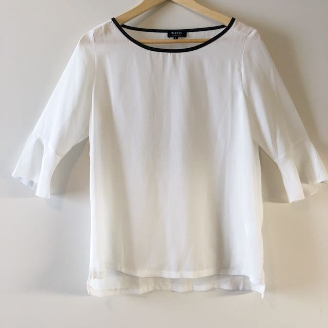 White Top With 3/4 Flared Sleeves