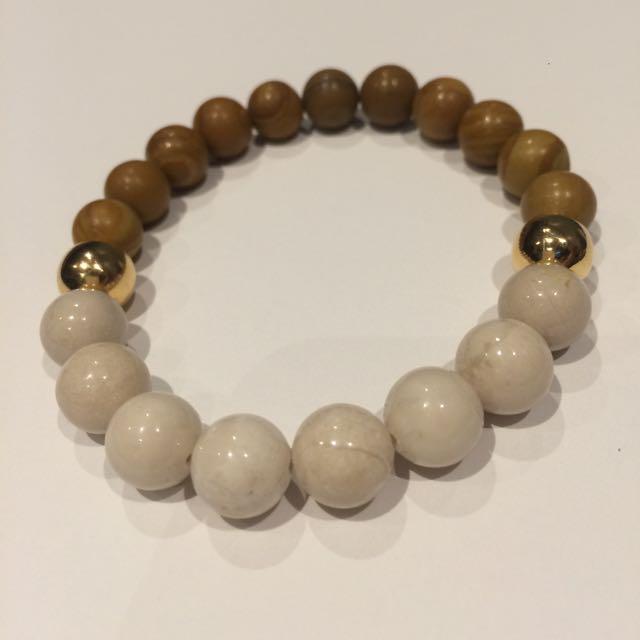 Wood Jasper/ Riverstone Bracelet