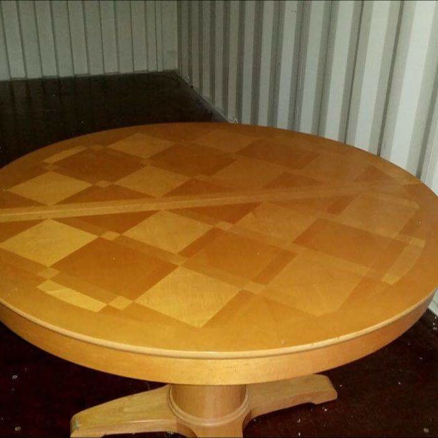 wooden looking dinner table