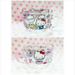 ★娃娃兵★Hello Kitty凱蒂貓玻璃碗大湯杯湯碗