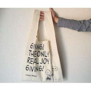 🚚 ◆Belle Shop◆日本雜誌附贈 PEANUTS SNOOPY 史奴比 限定 雙面 托特包 購物袋 環保包 單肩包