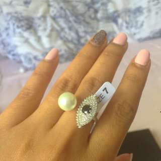 925 Sterling Silver Evil Eye CZ And Pearl Ring(size7)
