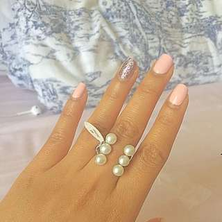 925 Sterling Silve Open Pearl Ring(fits Size5-8)