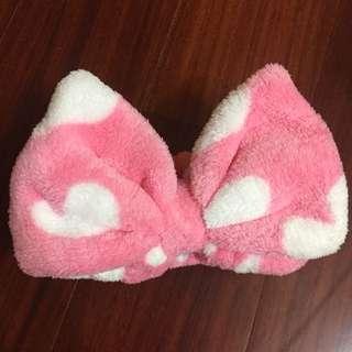 粉色點點髮帶/卸妝洗臉美容髮帶
