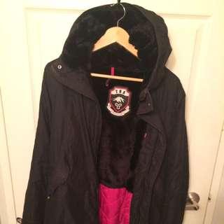 TNA Fur Lined Canvas Jacket - Black M