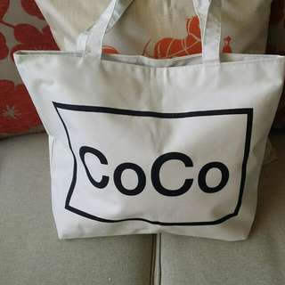 Coco Chanel Canvas Tote Bag With Zip Nee