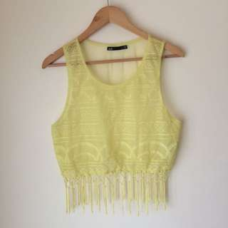 Dotti 'Yellow Sheer Top with Embroidered Detail'