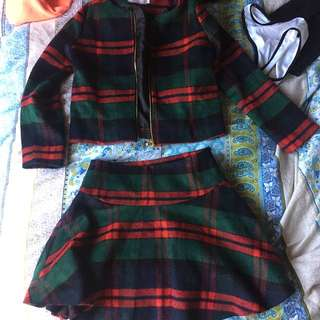 Plaid Skirt And Jacket Set