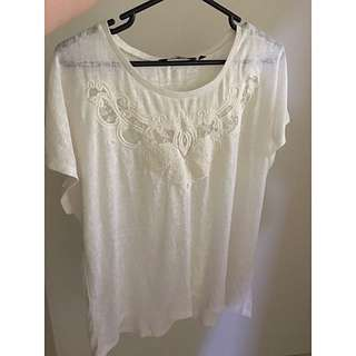 PLUS SIZE WHITE/CREAM TOP WITH LACE - Size 26