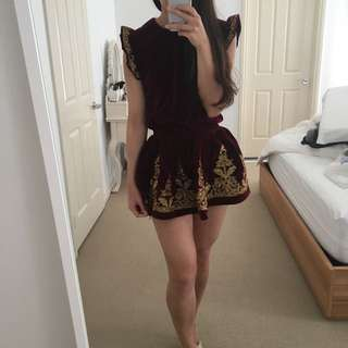 Velvet Burgundy Top Skirt Set