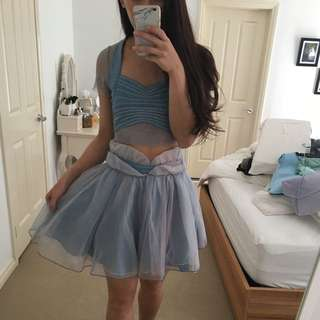 Pretty Blue Tulle Top Skirt Set