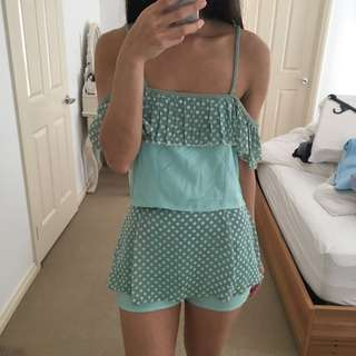 Green Polkadot Top Bottom Set