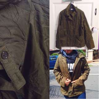 Non Hooded Green Army Parka
