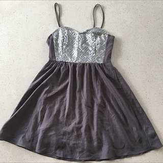 H&M Silver/Gray Cocktail Dress