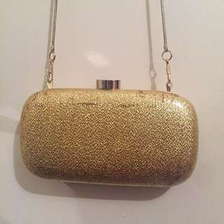 Witchery Gold Shimmery Clutch Bag