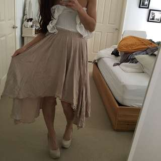 Cream Beige Midi Skirt