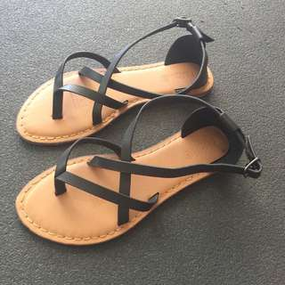 NEW Black Strapped Sandals Size 36