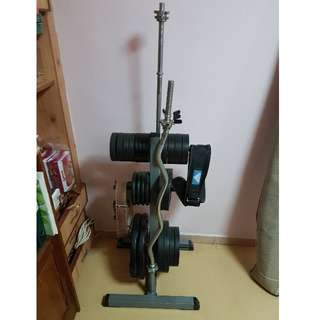 MUST GO ! Full set of weight plates, dumbbells and barbells with stand