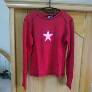 紅色星星保暖長袖