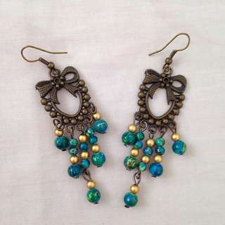 Vintage Green Beads Dangling