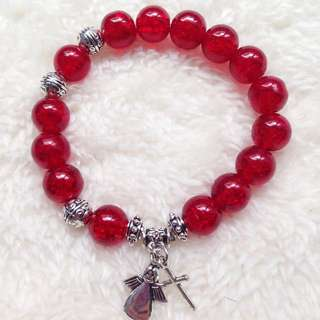 Red Glass Beads Rosary Bracelet