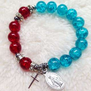 Red And Blue Glass. Eads Rosary Bracelet