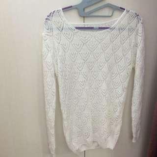 全新✨白色細針織罩衫