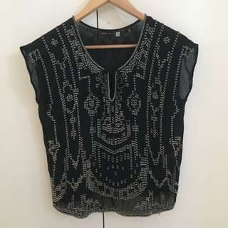 Black Beaded Top Size 8