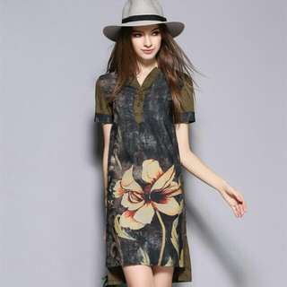 HQ 14939 Green Flower Dress