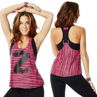 Zumba™ Let Loose Striped Racerback Medium