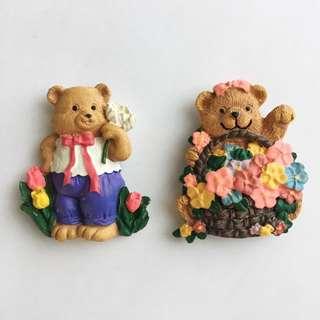 Set of 2 Bear Fridge Magnets