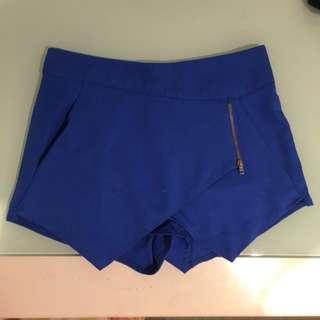 Ice Blue Fabric Shorts/scort