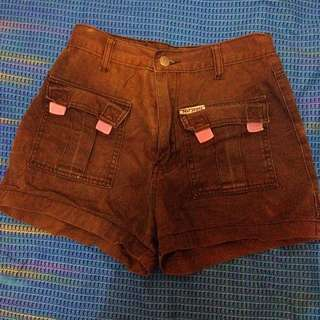 high waisted Faded Cargo Brown Shorts for Women