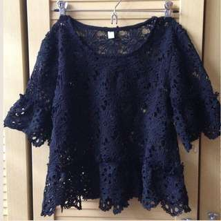 Black Laced Floral Top