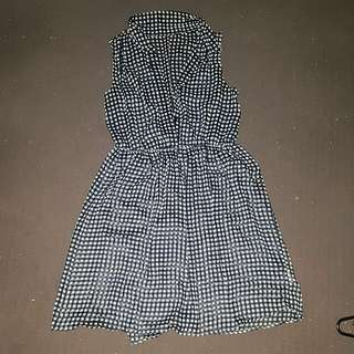 Womens ally size L 16 button down sheer check print dress